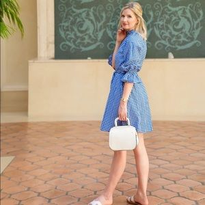 Who What Wear Bright Blue Gingham Tie-Dress XS